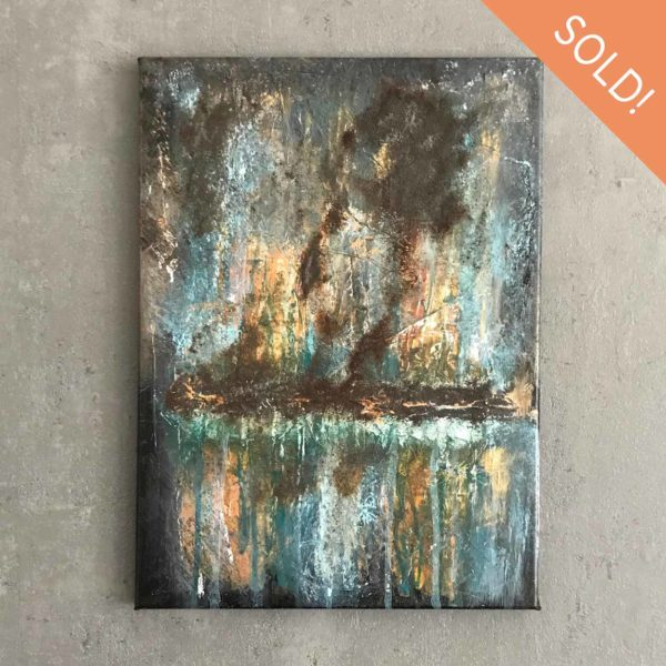 Weathered Abstract Acrylic Painting